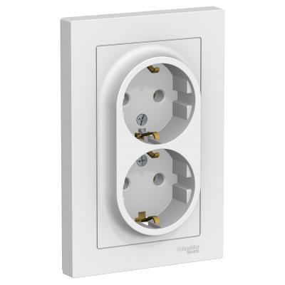 Розетка Schneider Electric AtlasDesign двойная с заземляющим контактом Белый