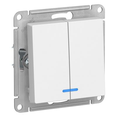 Выключатель Schneider Electric AtlasDesign двухклавишный с подсветкой Белый