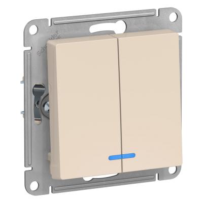 Выключатель Schneider Electric AtlasDesign двухклавишный с подсветкой Бежевый
