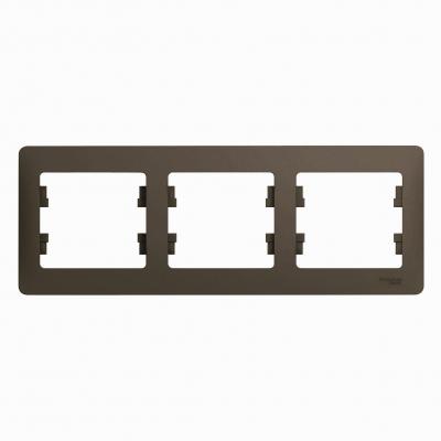 Рамка Schneider Electric Glossa трехпостовая Шоколад