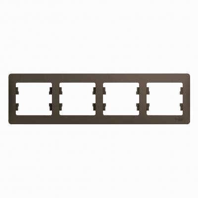 Рамка Schneider Electric Glossa четырехпостовая Шоколад