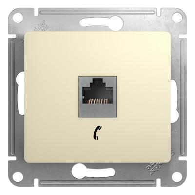 Информационная розетка Schneider Electric Glossa 6P4C (Телефон) Бежевый