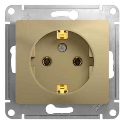Розетка Schneider Electric Glossa с заземляющим контактом Титан