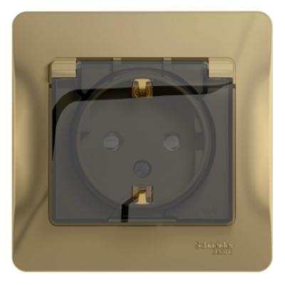 Розетка Schneider Electric Glossa с заземляющим контактом со шторками с крышкой Титан