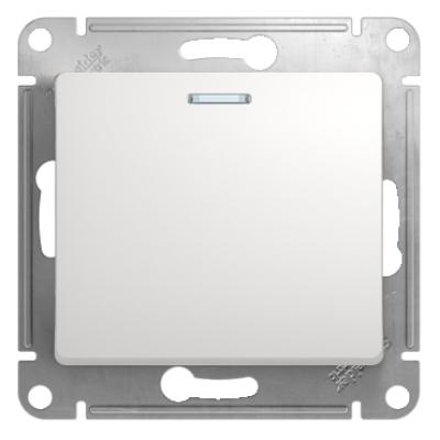 Выключатель Schneider Electric Glossa одноклавишный с подсветкой Белый