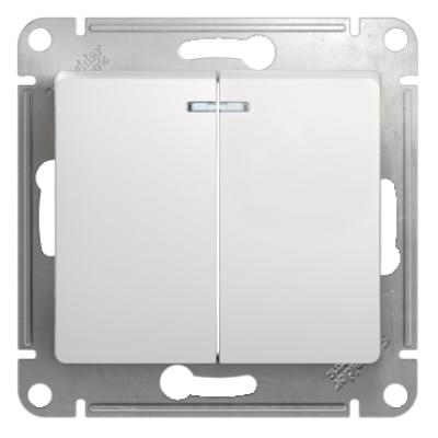 Выключатель Schneider Electric Glossa двухклавишный с подсветкой Белый