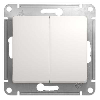 Переключатель Schneider Electric Glossa двухклавишный Белый