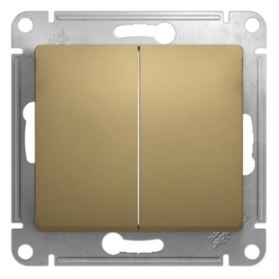 Выключатель Schneider Electric Glossa двухклавишный Титан
