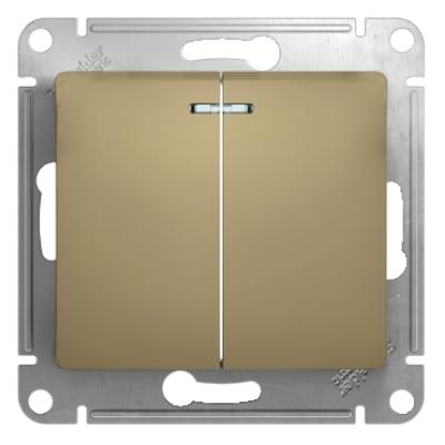 Выключатель Schneider Electric Glossa двухклавишный с подсветкой Титан
