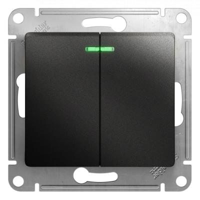 Выключатель Schneider Electric Glossa двухклавишный с подсветкой Антрацит
