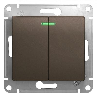 Выключатель Schneider Electric Glossa двухклавишный с подсветкой Шоколад