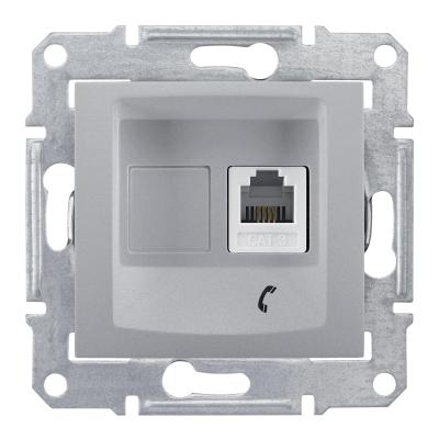 Информационная розетка Schneider Electric Sedna 6P4C (Телефон) Алюминий