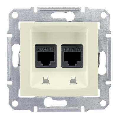 Информационная розетка Schneider Electric Sedna 8P8C (Интернет) двойная Бежевый