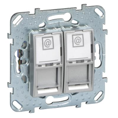 Информационная розетка Schneider Electric Unica 8P8C (Интернет) двойная Алюминий