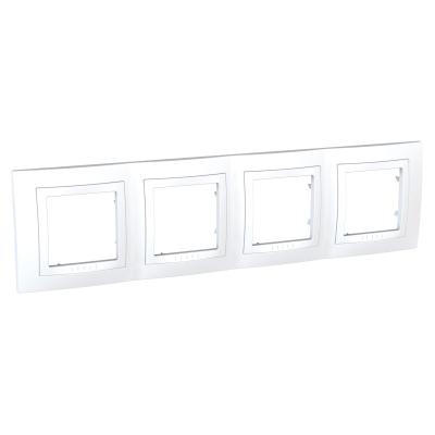 Рамка Schneider Electric Unica четырехпостовая Белый