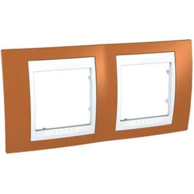 Рамка Schneider Electric Unica двухпостовая Оранжевый