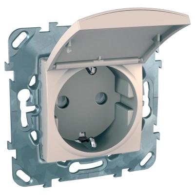 Розетка Schneider Electric Unica с заземляющим контактом со шторками с крышкой Бежевый