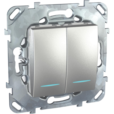 Выключатель Schneider Electric Unica двухклавишный с подсветкой Алюминий