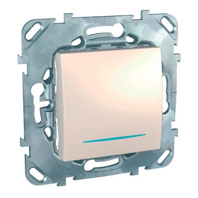 Выключатель Schneider Electric Unica одноклавишный с подсветкой Бежевый