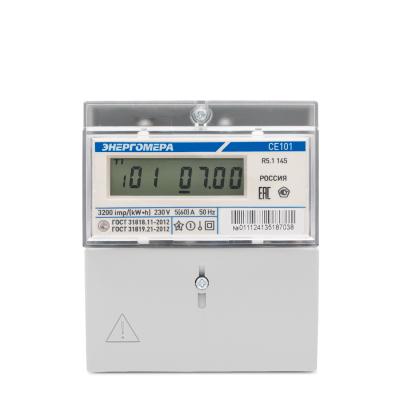 Счетчик эл/энергии 1-фаз. СЕ 101 R5.1 145 (ЖКИ) 220В 5-60А 50Hz кл.1