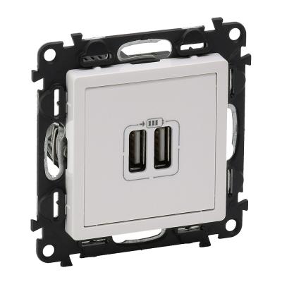 Зарядное устройство с 2-мя USB 240В/5В 1500mA с лицевой панелью бел. Valena LIFE Legrand